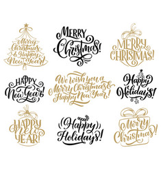 Christmas new year holidays lettering quotes vector