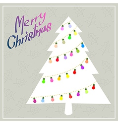 Christmas tree with color blub vector image