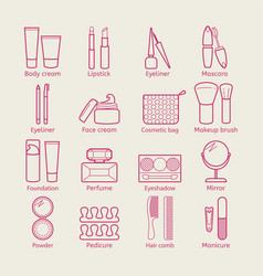 cosmetic icons mascara lipstick powder vector image