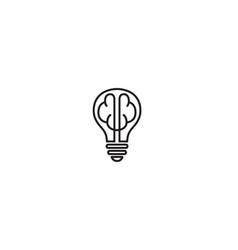 Creative lamp brain lines logo symbol design vector