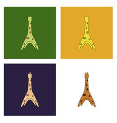 Cute cartoon trendy design little giraffe with vector