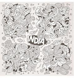 Doodle cartoon set of indian designs vector