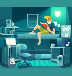 Dormitory room at night student interior vector