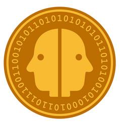 Dual face digital coin vector