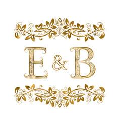 E and b vintage initials logo symbol vector