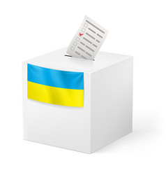Election in ukraine ballot box with voicing paper vector