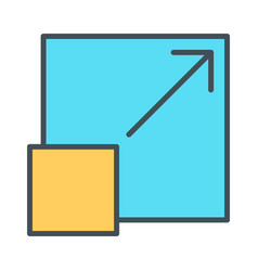 Expand to full screen thin line icon pictogram vector