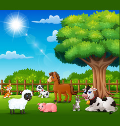 Farm animals are enjoying nature by the cage vector