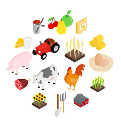 farm isometric 3d icons set vector image