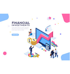 Financial flat isometric infographic vector