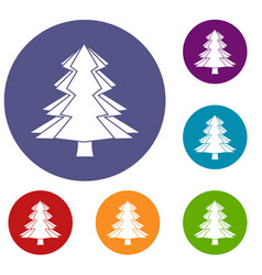 fir tree icons set vector image