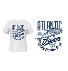 Fishing sport club t-shirt print with fish sketch vector