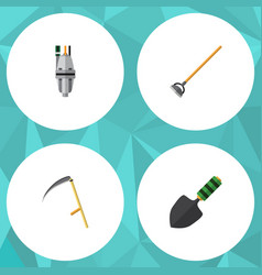 Flat icon dacha set of tool trowel pump and vector