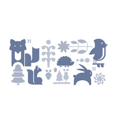 flat set of cute forest elements wild vector image