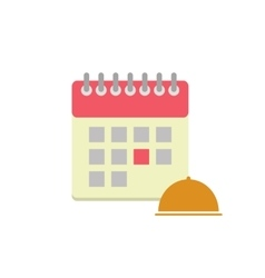 Flat style calendar icon with cloche vector image