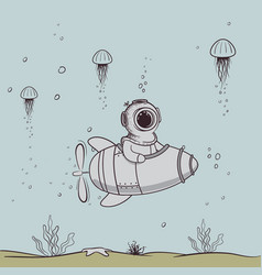 funny diver floats on submarine in deep sea vector image