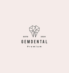 Gems dental logo hipster retro vintage for vector