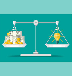 Glass light bulb and money on balance scales vector
