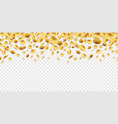 golden coins falling 3d money on transparent vector image