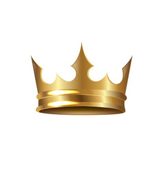 golden crown isolated white background vector image