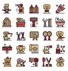 groomer icons set outline style vector image