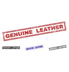 Grunge genuine leather textured rectangle stamps vector