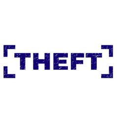 Grunge textured theft stamp seal inside corners vector