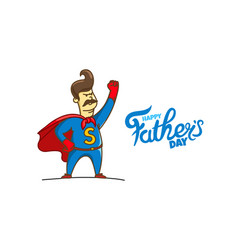 happy fathers day card with lettering logo vector image