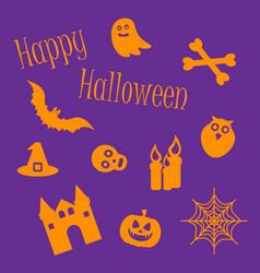 happy halloween icon set of symbols vector image