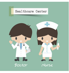 Healthcare center doctor and nurse cartoon vector