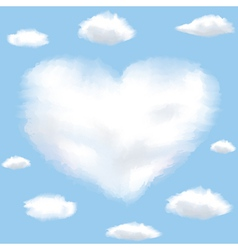 heart sky with clouds vector image