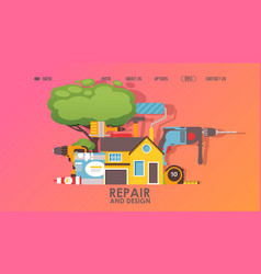 House repair service website design vector