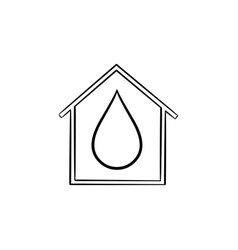 house with water drop hand drawn icon vector image