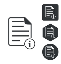 Information document icon set monochrome vector