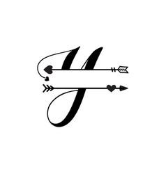 Initial y love monogram split letter isolated vector