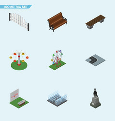 Isometric city set of aiming game bench swing vector