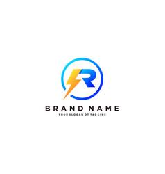 Letter r flash electrical logo design vector