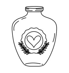 Line mason jar with heart sticker and branches vector