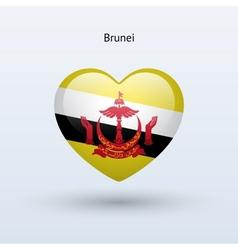 Love Brunei symbol Heart flag icon vector image