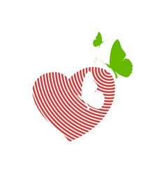 Love hearth care with butterfly logo element vector