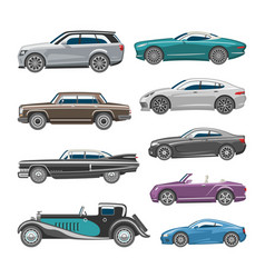 luxury car retro auto transport and vehicle vector image