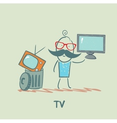 man throws an old TV and buy a new vector image