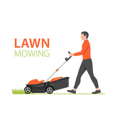 man with red lawn mower vector image