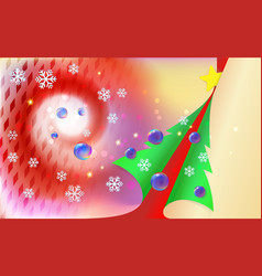 merry christmas red vintage background with green vector image