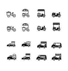 mobile food bicycle and car icons vector image