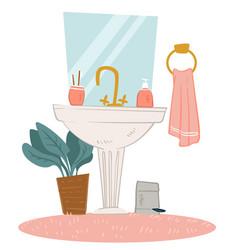 Modern home bathroom interior design sink vector