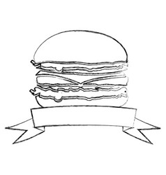 Monochrome blurred contour with burger and ribbon vector