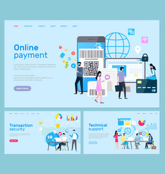online payment and transaction technical support vector image