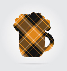 Orange black tartan isolated icon beer with foam vector