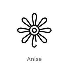 Outline anise icon isolated black simple line vector
